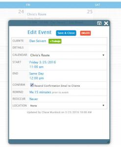Edit Event Calendar View